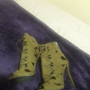 Green Suede High Heels